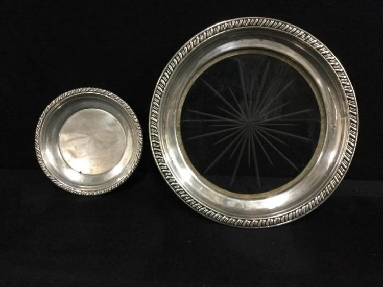Set of two sterling silver dishes - one crystal and sterling
