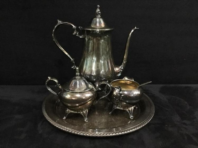 Antique Silverplate Tea Set with tray
