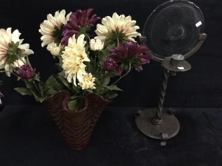 Lovely Art glass Vase w/ vintage mirror/Candleholder