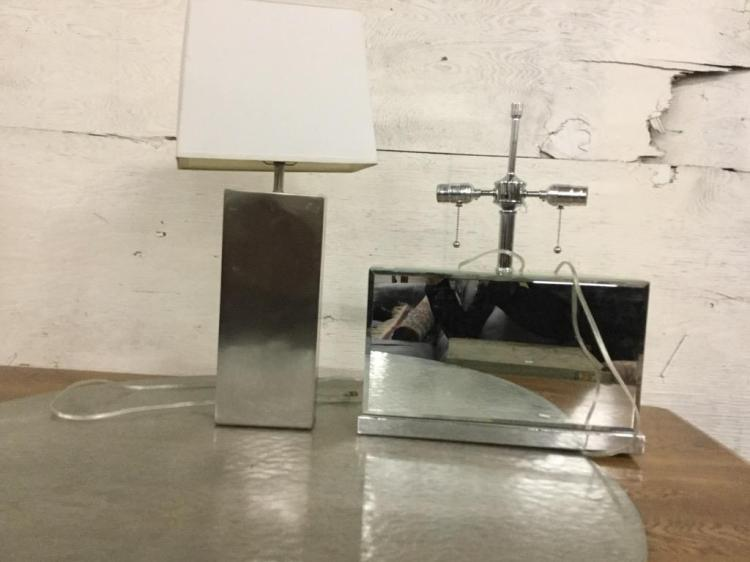 Set of two modern stainless table lamps