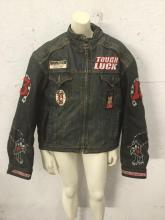 size medium leather jacket with patches, well lined