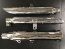 set of 3 chrome motorcycle mufflers, new