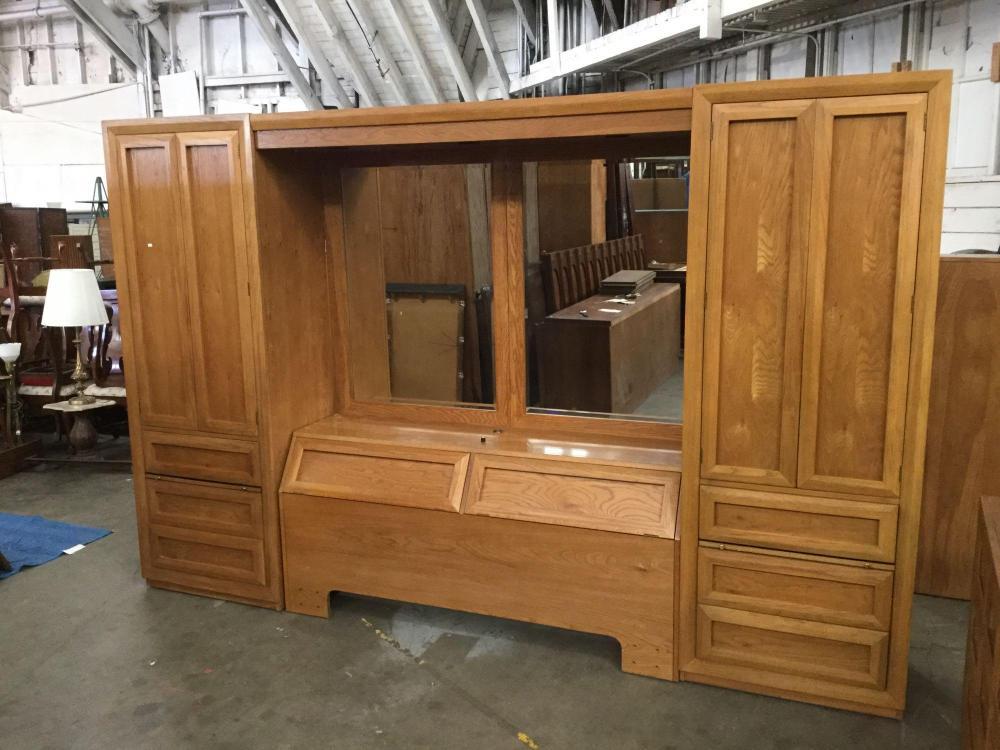 sold price thomasville mid century oak bedframe headboard