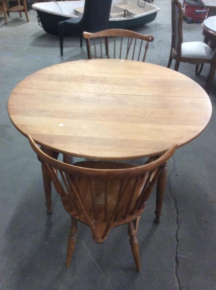 antique round oak table and 2 spindle back chairs. Black Bedroom Furniture Sets. Home Design Ideas