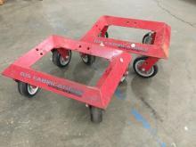 2 heavy duty steel rolling garage car dollies