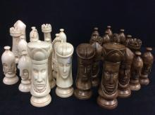 Set of two vintage oversized chalk chess pieces with medieval theme