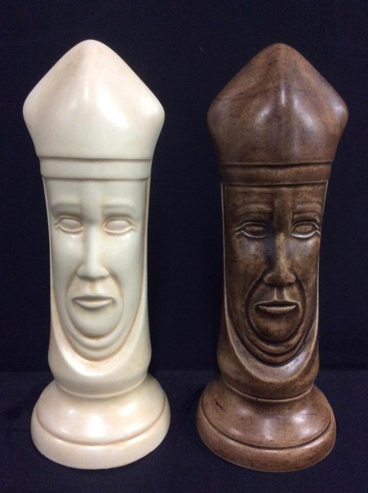 Set Of Two Vintage Oversized Chalk Chess Pieces With Medieva