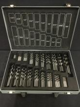 a carry case full of 19 different size drill bits, carry case has broken handle, bits are new