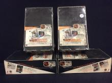 4 factory sealed 1991 NHL Pro Set Hockey hobby boxes. 2 french release and 2 English