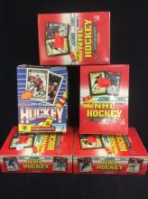 4 factory sealed 1990 Score NHL Hockey collector card dealer boxes. 1 is 1990-91 O-PEE CHEE