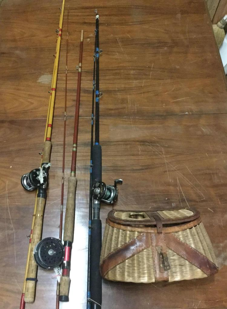 3 vintage fishing poles with reels by ambassador pflueger for Vintage fishing poles