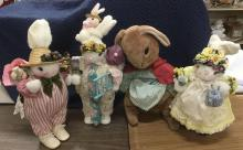 collection of 4 hand made Easter Bunnies, 1 is a Apple Whimsey collectable