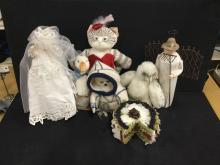 Selection of vintage and modern collectible including Dustyn Schears cat Doll and more