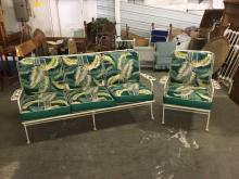 Vintage metal outside sofa and chair set - good cond!