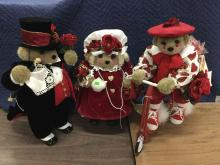 3 Apple Whimsey collectable bears