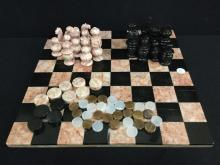 Gorgeous red and black marble chess board and checkers pieces - as is incomplete set