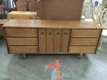 Mid Century maple long dresser in good cond -
