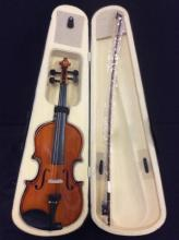 a almost new violin in a lined hard case, bow needs to be restrung.