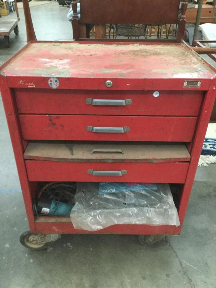 A Vintage Kennedy Rolling Tool Chest Filled W Heavy Duty To