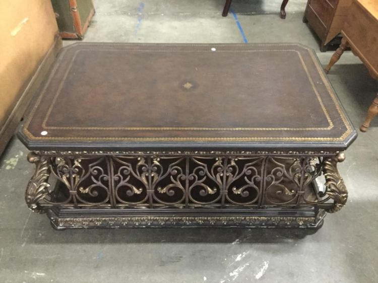 Very Ornate Wrought Iron Coffee Table With Leather Top And S