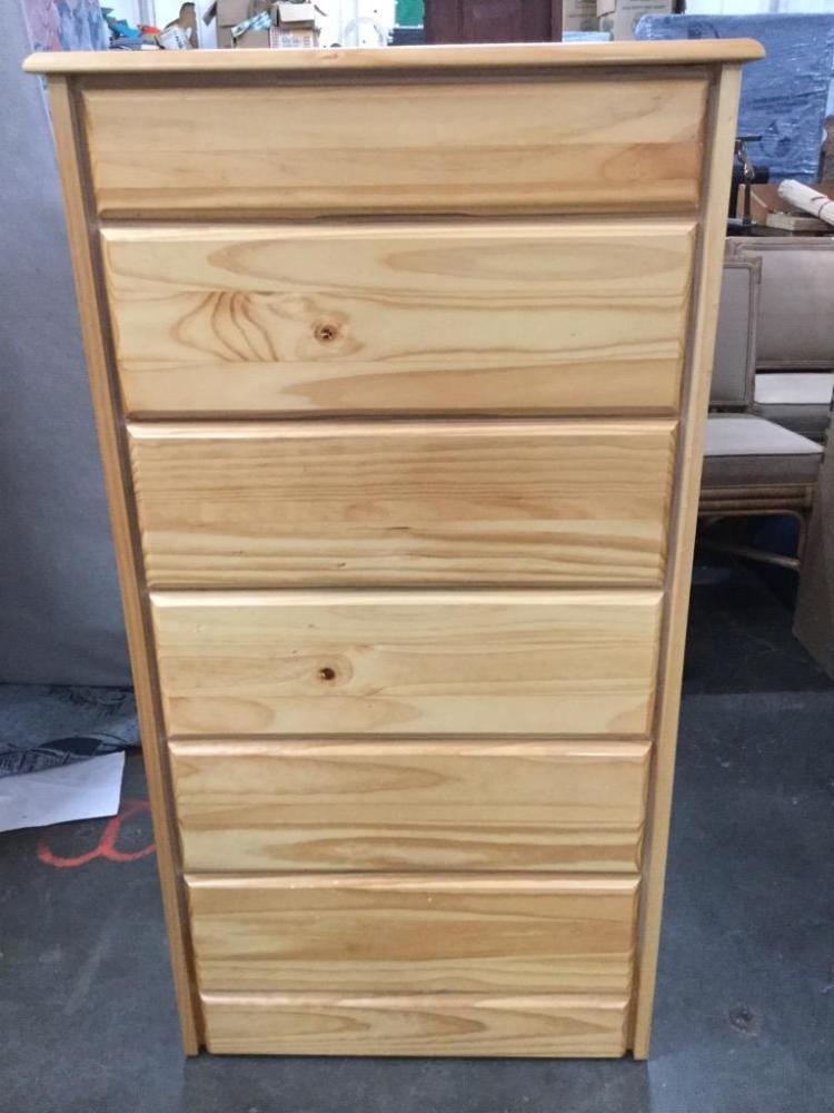 Tall simple oak tall boy dresser