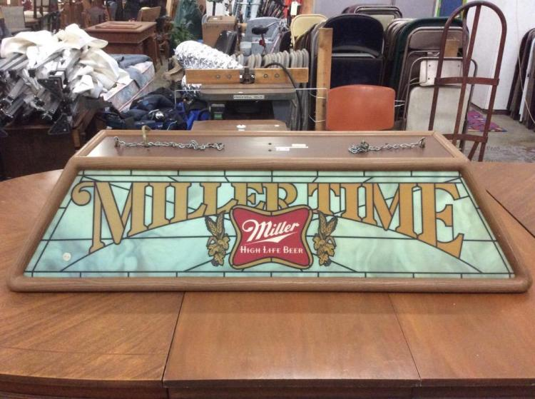 Vintage Miller Time Miller Pool Table faux stained glass Bar