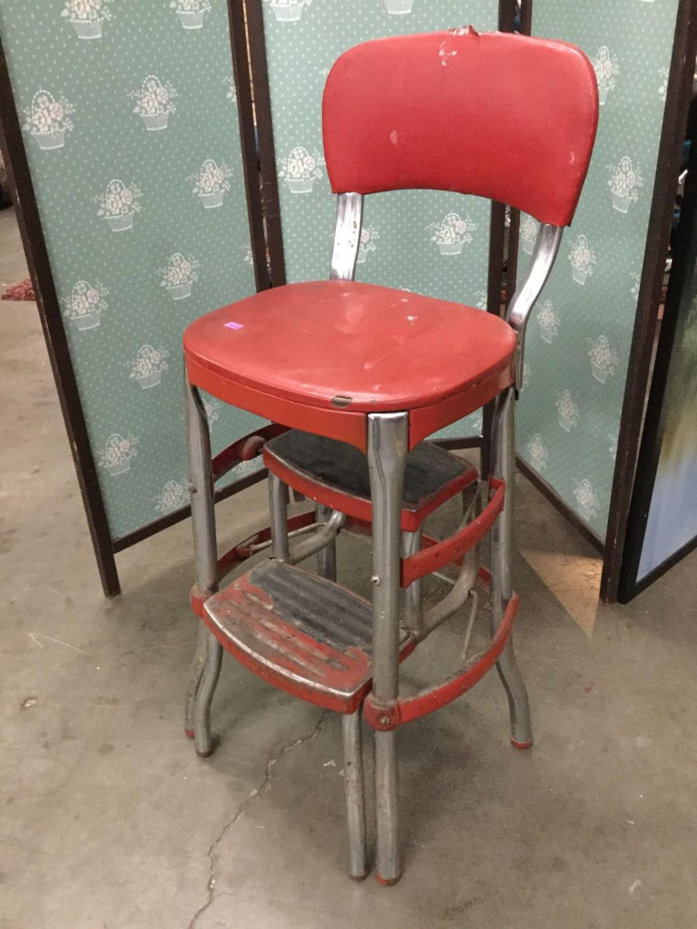 Sensational Vintage Chrome And Red Vinyl Step Chair Inzonedesignstudio Interior Chair Design Inzonedesignstudiocom