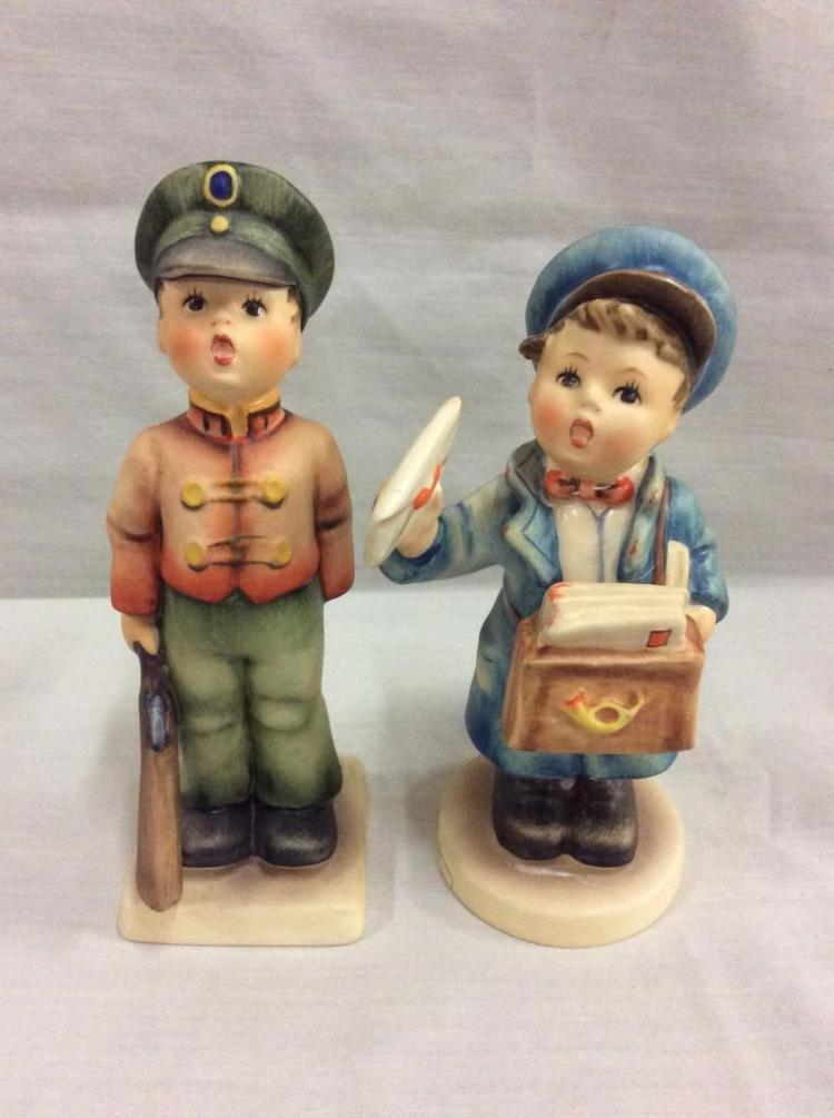 Collection of tmk hummel figurines includes quot postman and