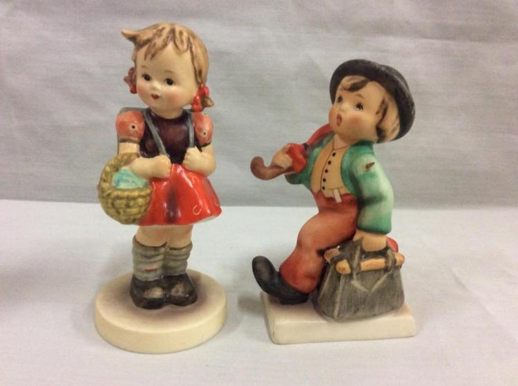 Collection of tmk hummel figurines includes quot village boy