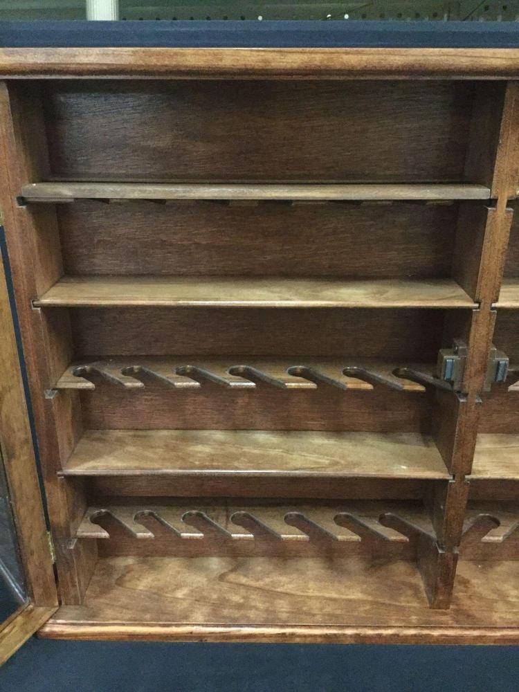 Large Wood Pipe Display Case With Two Clear Doors Holds 42