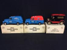 2 1950 Panel Truck coin banks and a 1913 Model T coin bank