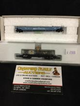 Marklin Z - guage Mini Club - 2x flat cars stack trailer csx and car w/ glass tube