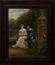 """Ludovic Mouchot (1846-1893, French), """"The Persistent Suitor,"""" 1880, oil on canvas, signed and dated lower left, presented in a polyc..."""