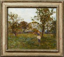 """George Herbert Jupp (1869-1925, English), """"Woman in a Field,"""" 19th c., oil on canvas, signed lower left, presented in a wide polychr..."""