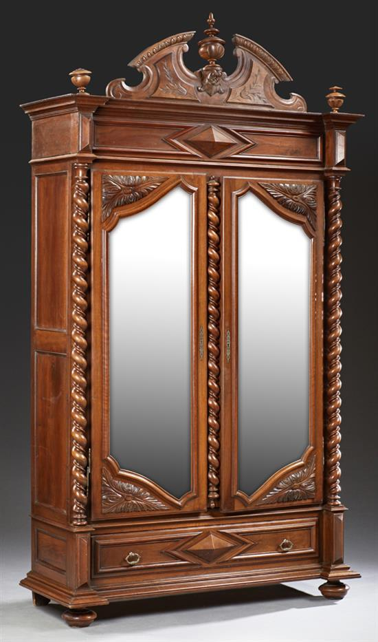french henri ii style carved walnut armoire 19th c the br. Black Bedroom Furniture Sets. Home Design Ideas