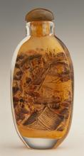 Tall Chinese Interior Painted Glass Snuff Bottle, early 20th c., with a scene of people on a bridge, with a green stone stopper, H.-...
