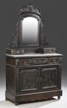 French Ebonized Marble Top Secretaire Dresser, c. 1880, the broken arch crest over a wide beveled mirror on arched supports, flanked...