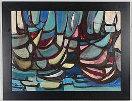 """†Maude Lilyan Carron (New Orleans), """"Blue Regatta,"""" 1960, oil on board, signed and dated l.l., framed, H.- 19 3/4 in., W.- 27 1/2 in..."""