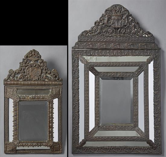 Two dutch baroque style patinated brass cushion mirrors 19t for Dutch baroque architecture