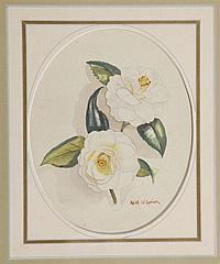"""†Nell Pomeroy O'Brien, """"Duncan Bell Camellia,"""" 20th c., watercolor, signed and titled lower center, framed, H.- 7 5/8 in., W.- 9 5/8 .."""