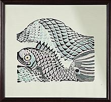 "Lot 341: Walter Inglis Anderson (1903-1965), ""Fish,"" 20th c., hand ..."