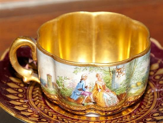 twelve piece dresden porcelain petit dejeuner set 20th c