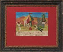 †Mexican Retablo, 1955, oil on tin, giving thanks to the Virgin for protecting from an elephant at the circus, presented in a shadow...