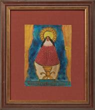†Mexican Retablo, mid 20th c., of the Virgin of Guadalupe, oil on tin, presented in a gilt and brown shadow box frame with a brown li..