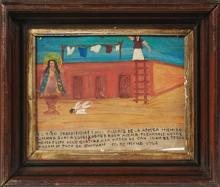 †Mexican Retablo, 1957, giving thanks to the Virgin of San Juan for saving a child after a fall, presented in a wood shadow box frame..