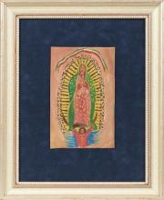 †Mexican Retablo to the Virgin, 20th c., oil on tin, presented in a silvered shadow box frame with a blue velvet background, H.- 8 in..