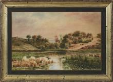 """†Alfred Schmidt (1867-1956, German), """"Birds on a Lake,"""" 1889, watercolor, signed and dated lower left, presented in a gilt frame, H.-.."""