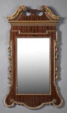 American Federal Style Gilt and Gesso Mahogany Overmantel Mirror, early 20th c., the scrolled broken arch crest over a rectangular p...
