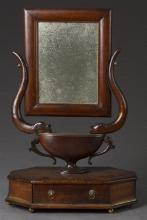 Unusual Carved Mahogany and Beach Brass Mounted Tabletop Shaving Mirror, 19th c., the rectangular mirror on serpentine supports with...