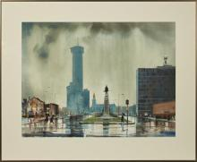 """†Paul Dartez (1914-2011, Louisiana), """"Rainy City Streets,"""" 20th c., watercolor, signed lower right, framed, H.- 21 1/2 in., W.- 28 3/.."""
